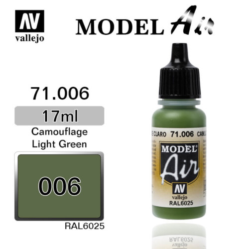 VALLEJO MODEL AIR 71.006 CAMOUFLAGE LIGHT GREEN